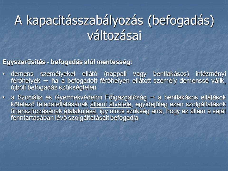 A kapacitásszabályozás (befogadás) változásai