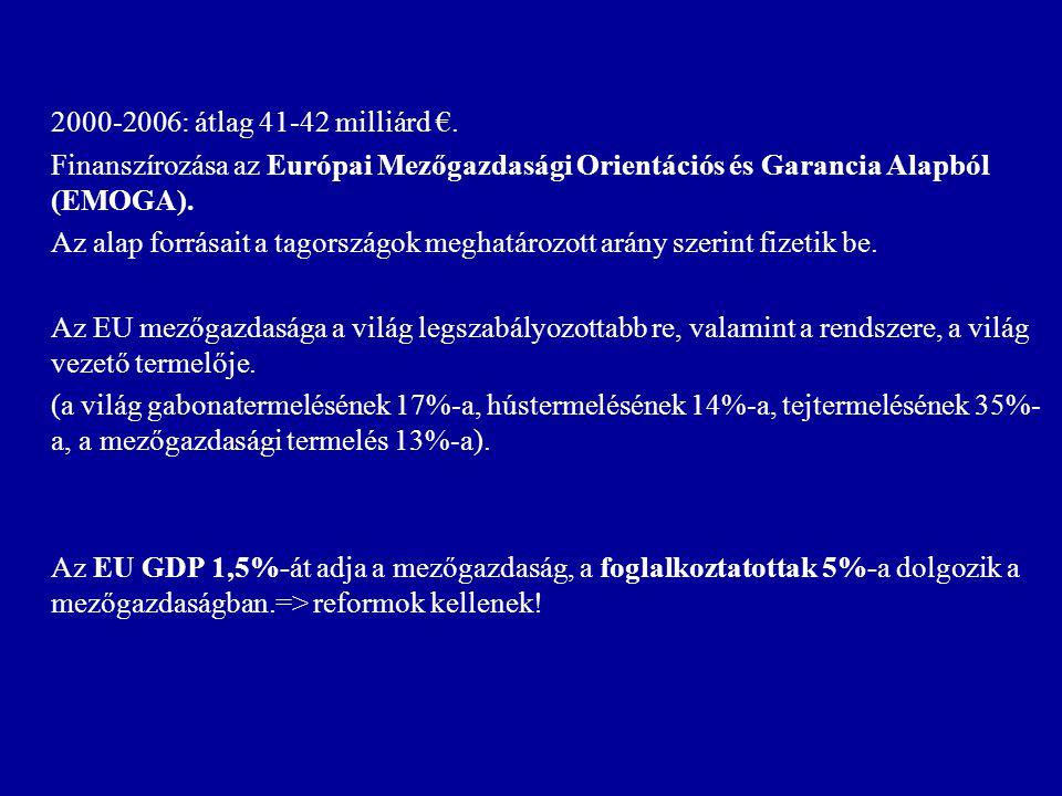 2000-2006: átlag 41-42 milliárd €. Finanszírozása az Európai Mezőgazdasági Orientációs és Garancia Alapból (EMOGA).