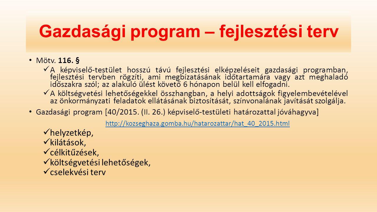 Gazdasági program – fejlesztési terv
