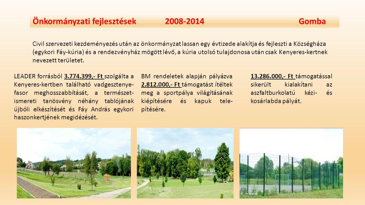 Önkormányzati fejlesztések 2008-2014 Gomba