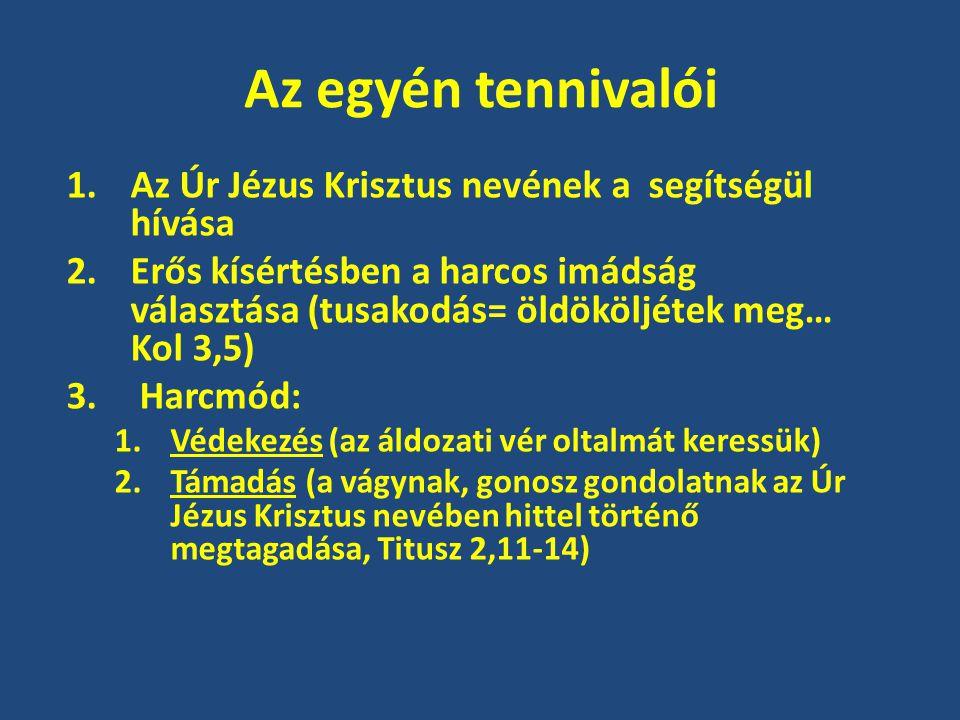 Az egyén tennivalói Az Úr Jézus Krisztus nevének a segítségül hívása