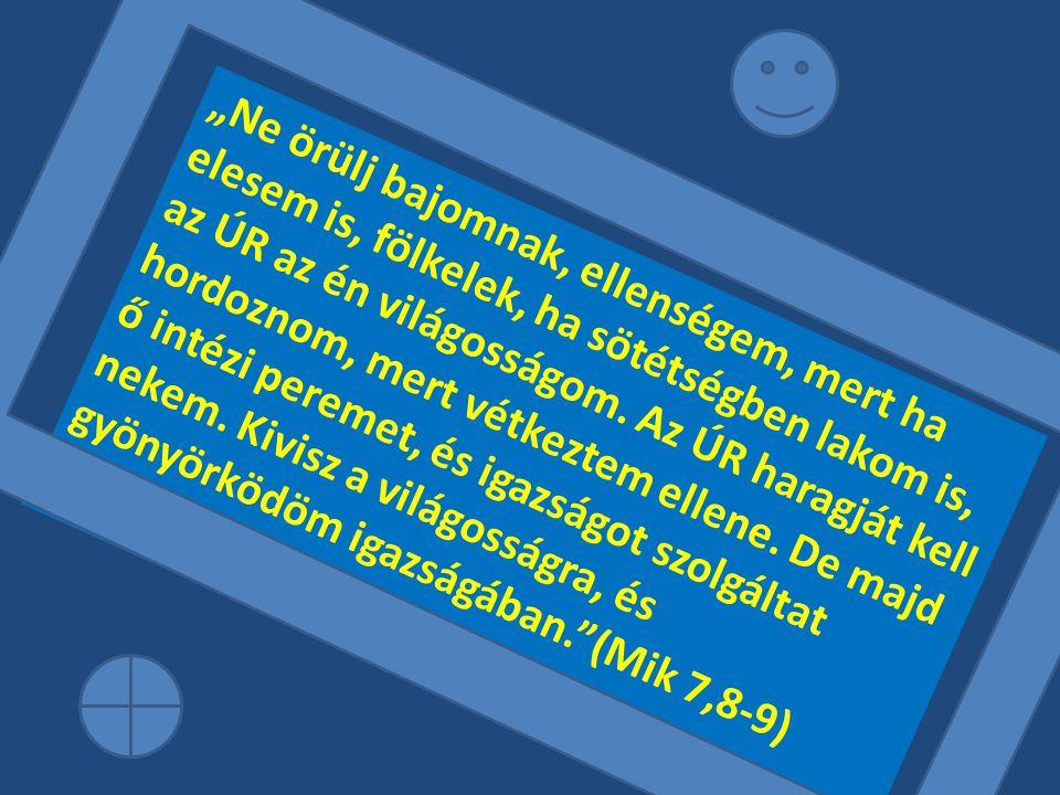 """""""Ne örülj bajomnak, ellenségem, mert ha elesem is, fölkelek, ha sötétségben lakom is, az ÚR az én világosságom."""