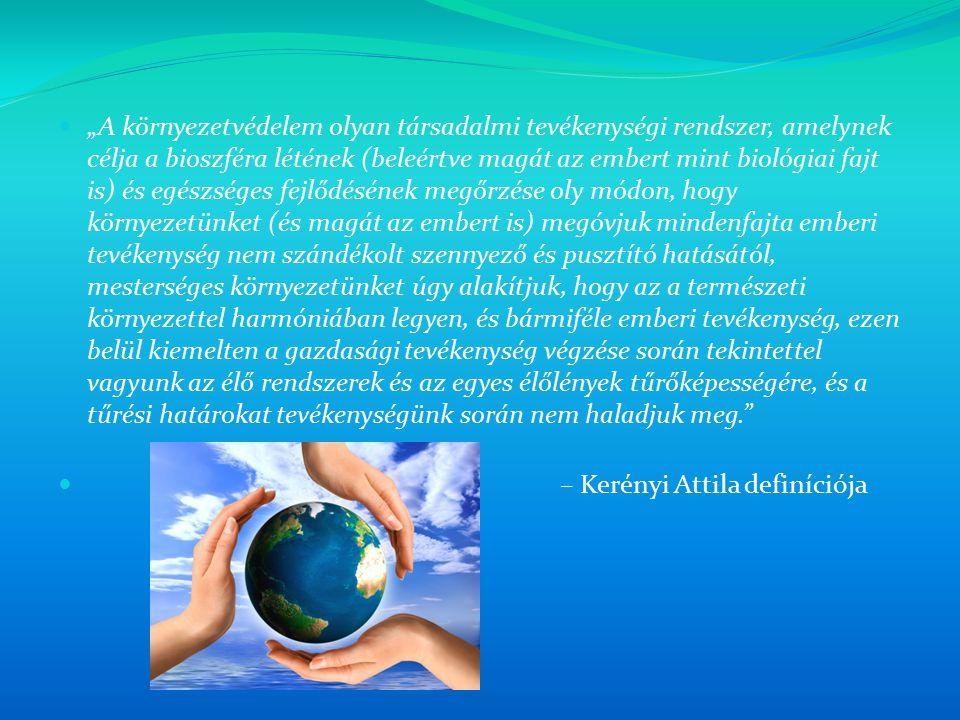 """""""A környezetvédelem olyan társadalmi tevékenységi rendszer, amelynek célja a bioszféra létének (beleértve magát az embert mint biológiai fajt is) és egészséges fejlődésének megőrzése oly módon, hogy környezetünket (és magát az embert is) megóvjuk mindenfajta emberi tevékenység nem szándékolt szennyező és pusztító hatásától, mesterséges környezetünket úgy alakítjuk, hogy az a természeti környezettel harmóniában legyen, és bármiféle emberi tevékenység, ezen belül kiemelten a gazdasági tevékenység végzése során tekintettel vagyunk az élő rendszerek és az egyes élőlények tűrőképességére, és a tűrési határokat tevékenységünk során nem haladjuk meg."""