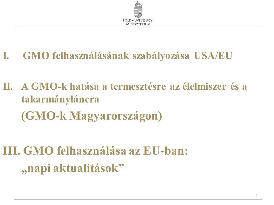 (GMO-k Magyarországon) III. GMO felhasználása az EU-ban: