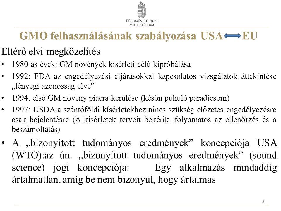 GMO felhasználásának szabályozása USA EU