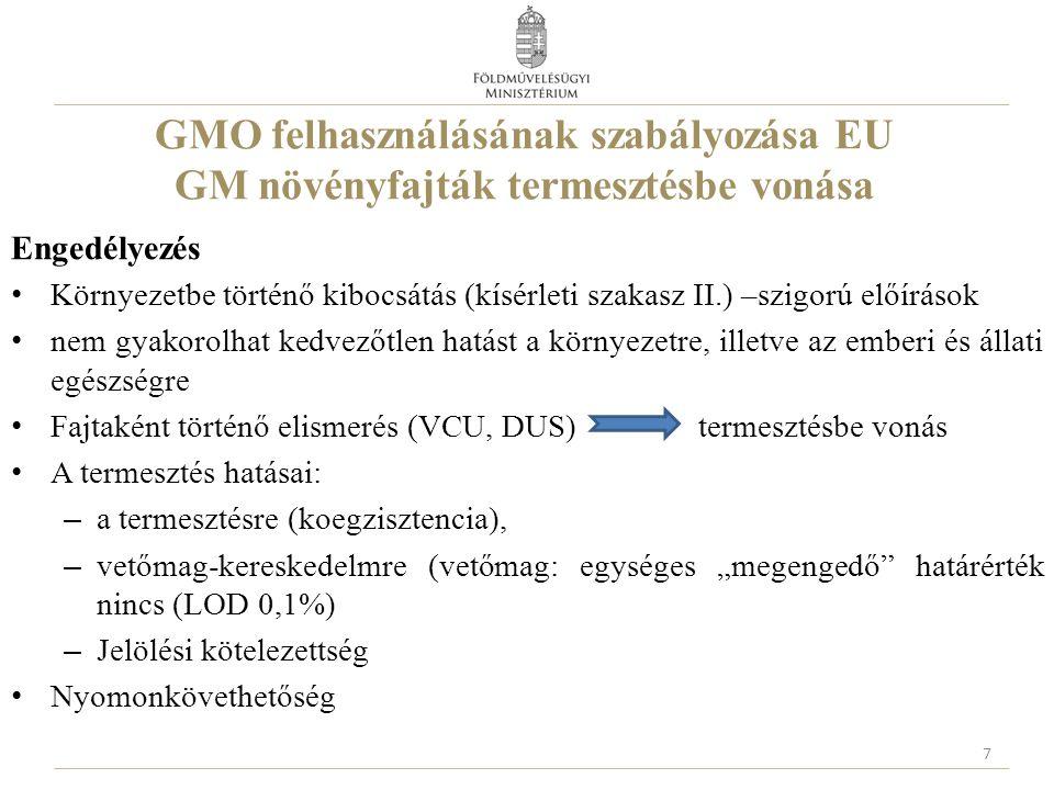GMO felhasználásának szabályozása EU GM növényfajták termesztésbe vonása