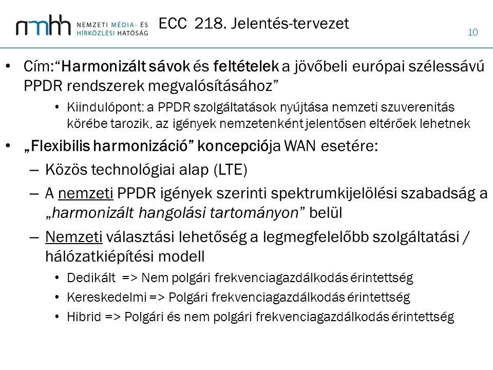 ECC 218. Jelentés-tervezet