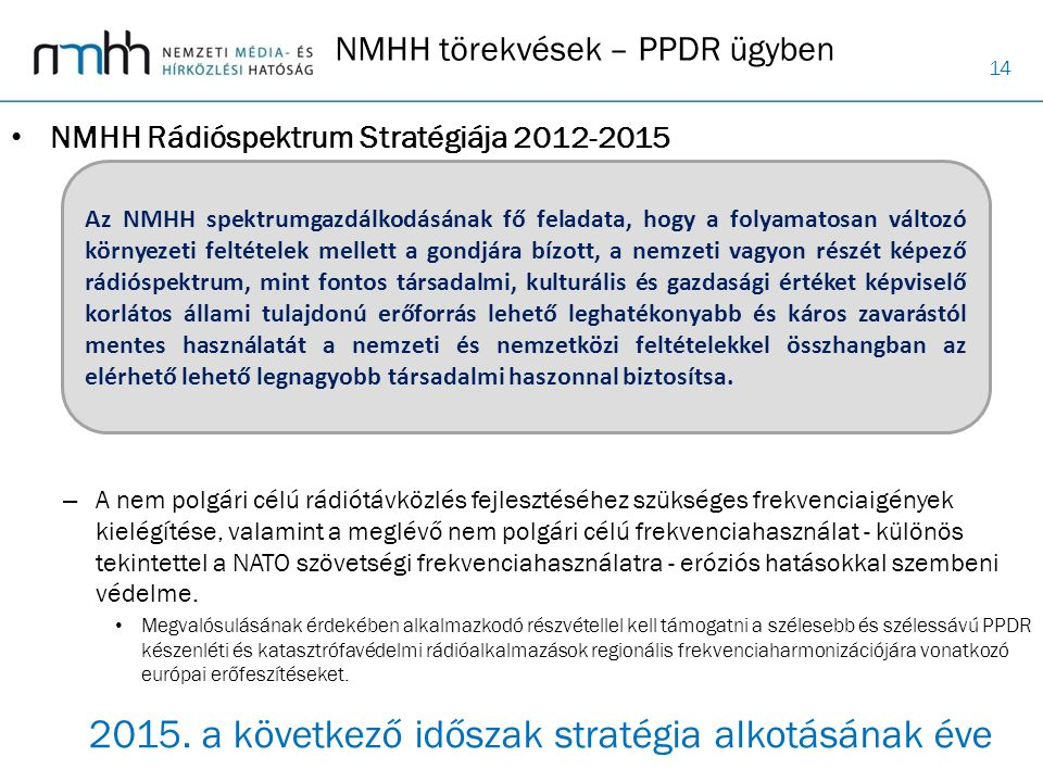NMHH törekvések – PPDR ügyben