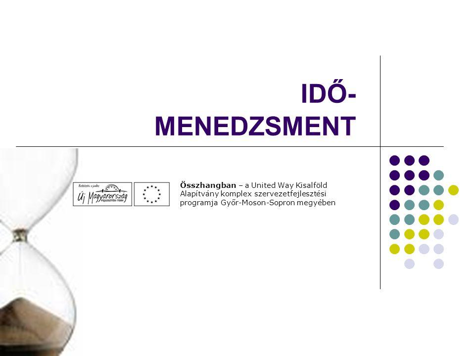 IDŐ-MENEDZSMENT Összhangban – a United Way Kisalföld Alapítvány komplex szervezetfejlesztési programja Győr-Moson-Sopron megyében.