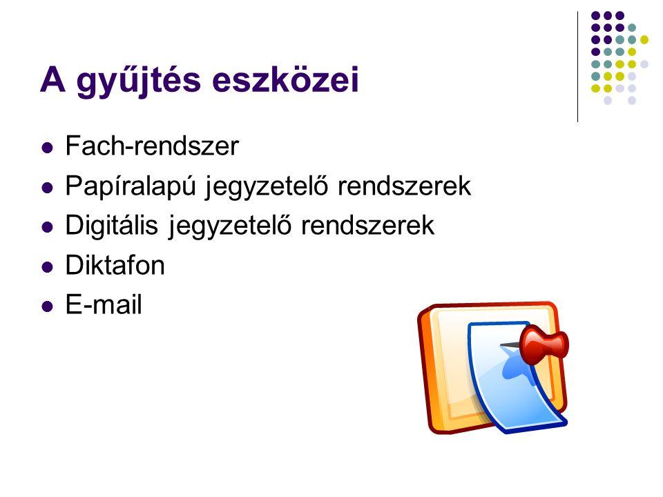 A gyűjtés eszközei Fach-rendszer Papíralapú jegyzetelő rendszerek
