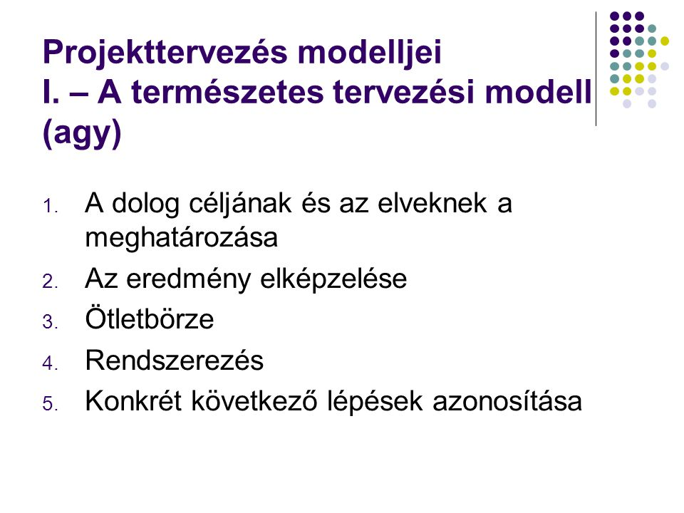 Projekttervezés modelljei I. – A természetes tervezési modell (agy)