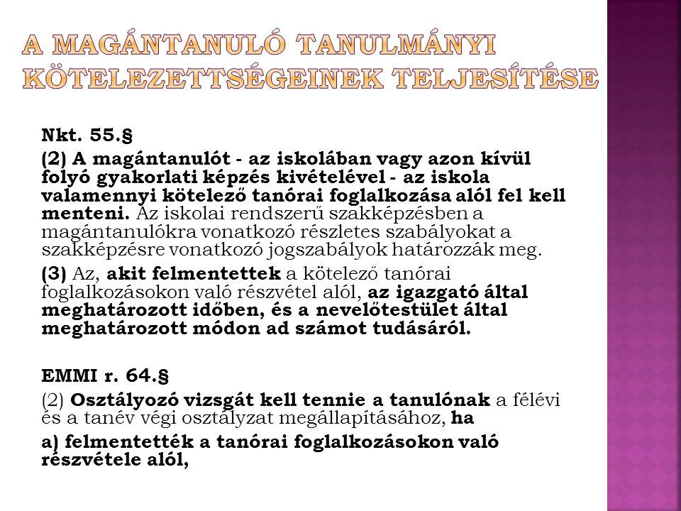 A MAGÁNTANULÓ TANULMÁNYI KÖTELEZETTSÉGEINEK TELJESÍTÉSE