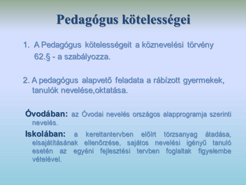 Pedagógus kötelességei