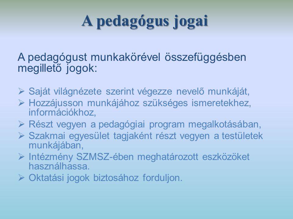 A pedagógus jogai A pedagógust munkakörével összefüggésben megillető jogok: Saját világnézete szerint végezze nevelő munkáját,