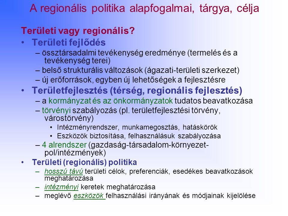 A regionális politika alapfogalmai, tárgya, célja