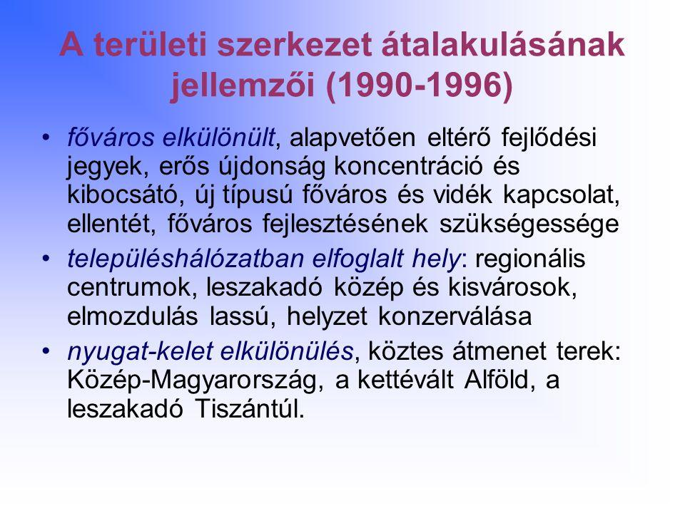 A területi szerkezet átalakulásának jellemzői (1990-1996)