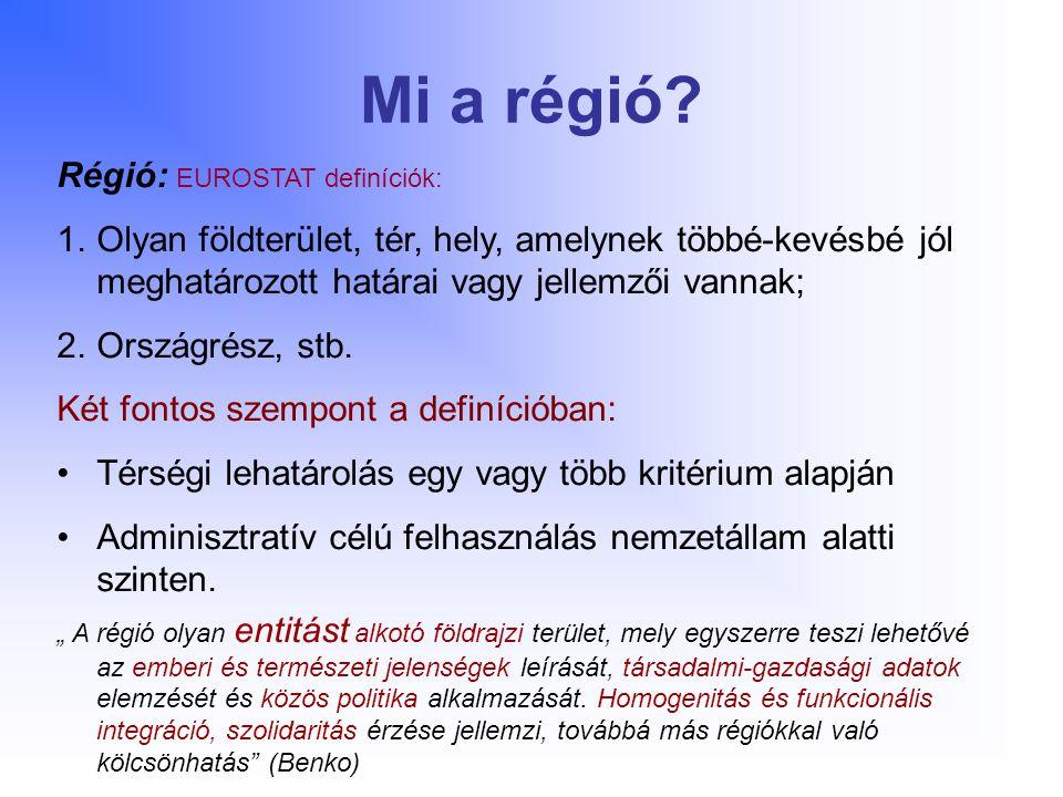 Mi a régió Régió: EUROSTAT definíciók: