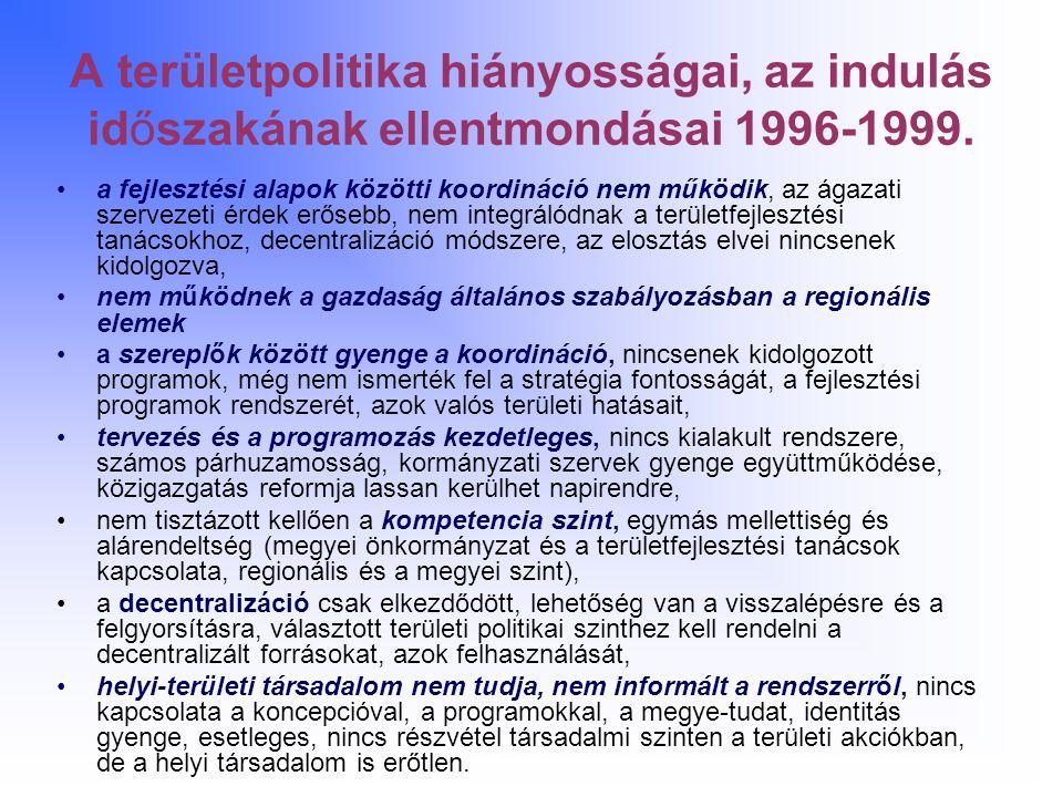 A területpolitika hiányosságai, az indulás időszakának ellentmondásai 1996-1999.