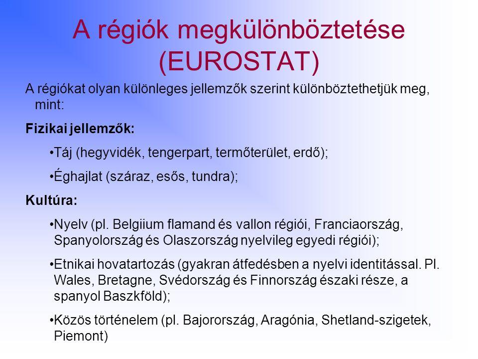A régiók megkülönböztetése (EUROSTAT)