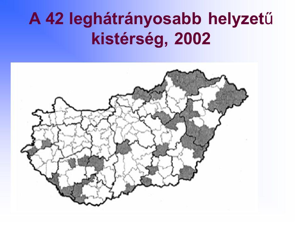 A 42 leghátrányosabb helyzetű kistérség, 2002