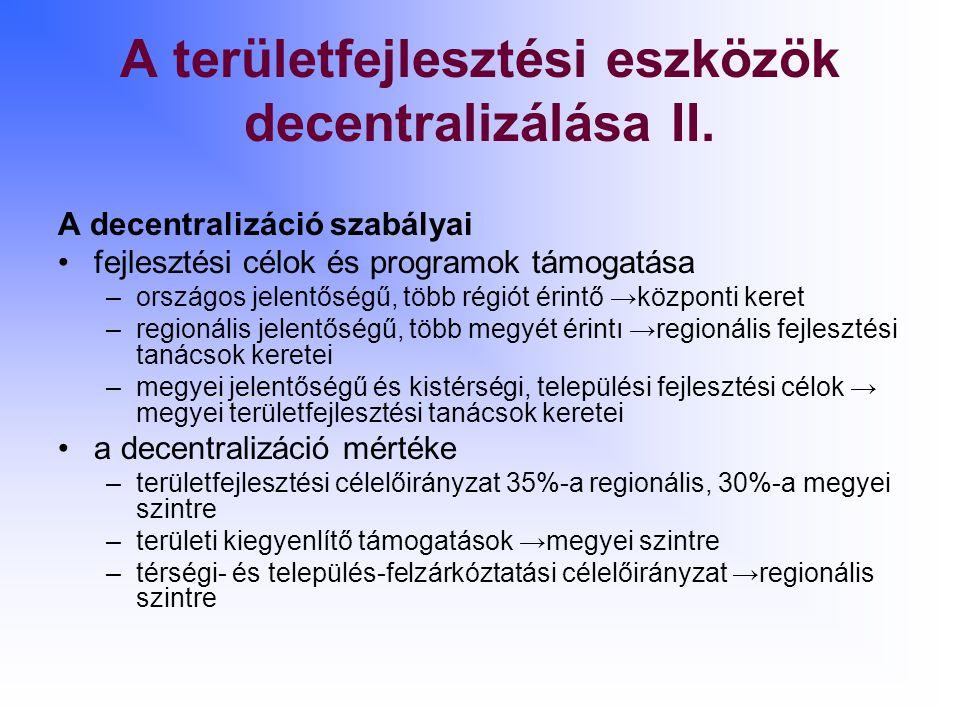 A területfejlesztési eszközök decentralizálása II.