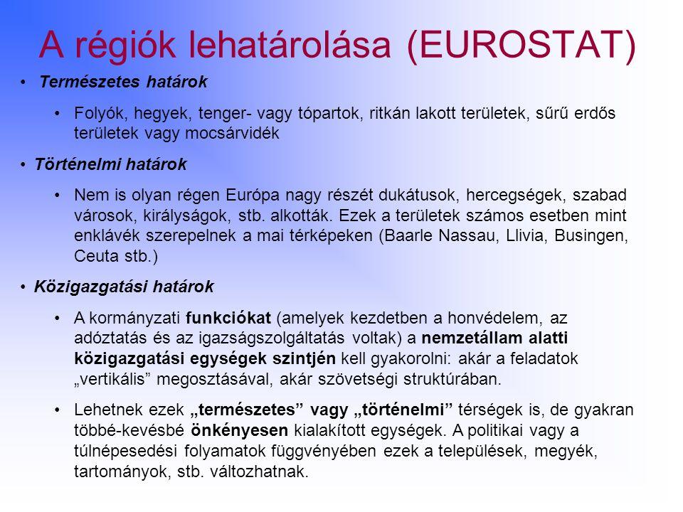 A régiók lehatárolása (EUROSTAT)