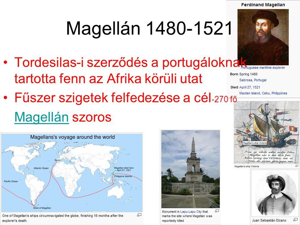 Magellán 1480-1521 Tordesilas-i szerződés a portugáloknak tartotta fenn az Afrika körüli utat. Fűszer szigetek felfedezése a cél-270 fő.