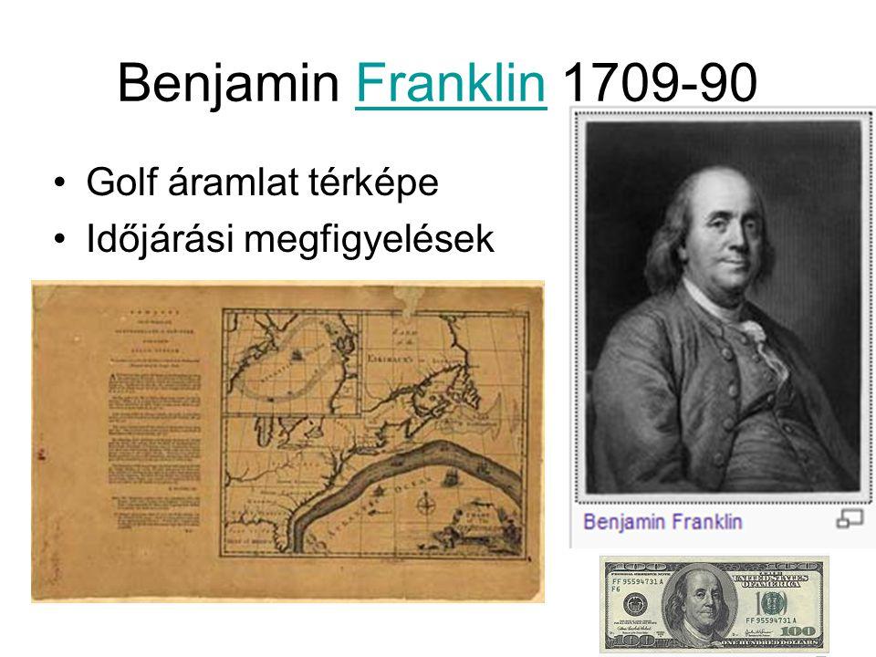 Benjamin Franklin 1709-90 Golf áramlat térképe Időjárási megfigyelések