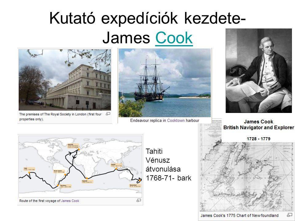 Kutató expedíciók kezdete- James Cook