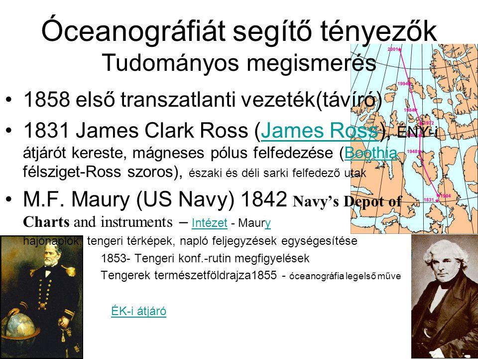 Óceanográfiát segítő tényezők Tudományos megismerés