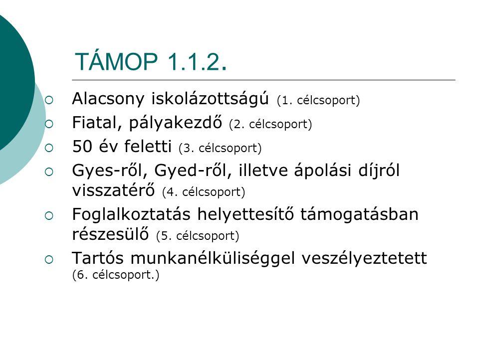 TÁMOP 1.1.2. Alacsony iskolázottságú (1. célcsoport)