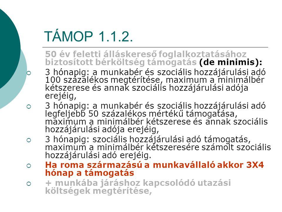 TÁMOP 1.1.2. 50 év feletti álláskereső foglalkoztatásához biztosított bérköltség támogatás (de minimis):