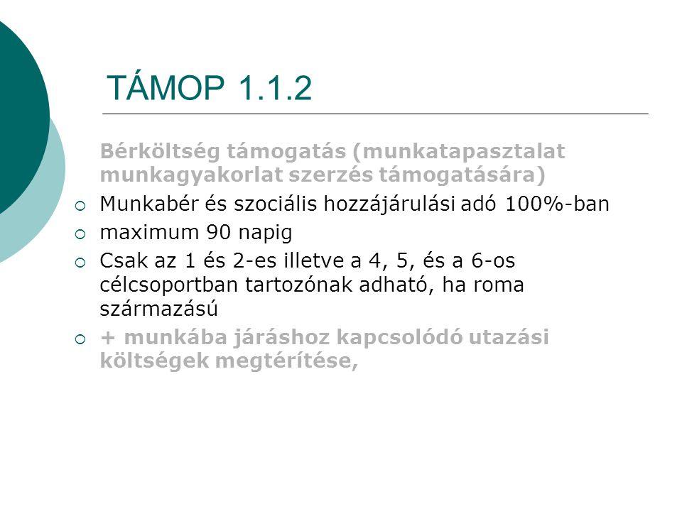 TÁMOP 1.1.2 Bérköltség támogatás (munkatapasztalat munkagyakorlat szerzés támogatására) Munkabér és szociális hozzájárulási adó 100%-ban.