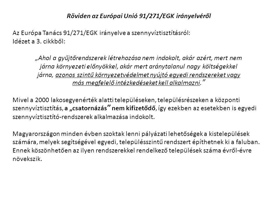 Röviden az Európai Unió 91/271/EGK irányelvéről
