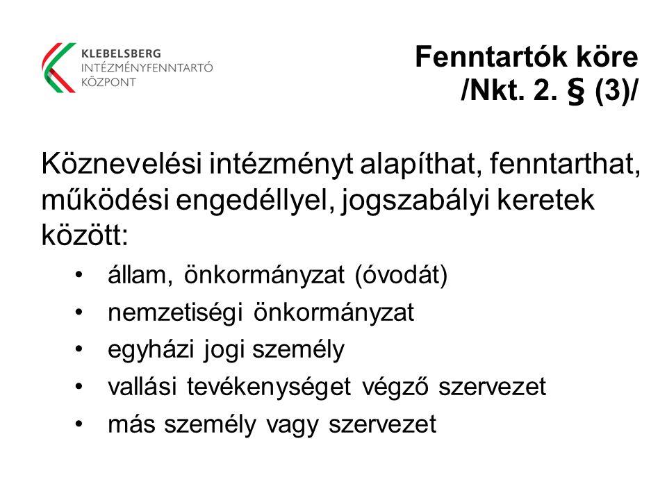 Fenntartók köre /Nkt. 2. § (3)/