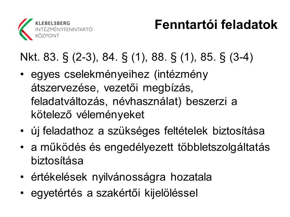 Fenntartói feladatok Nkt. 83. § (2-3), 84. § (1), 88. § (1), 85. § (3-4)