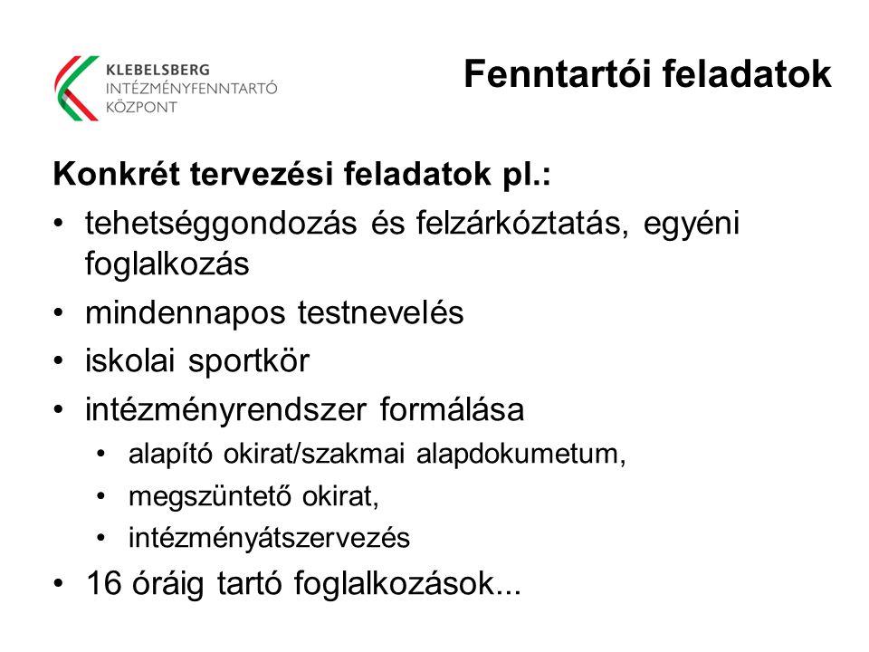 Fenntartói feladatok Konkrét tervezési feladatok pl.: