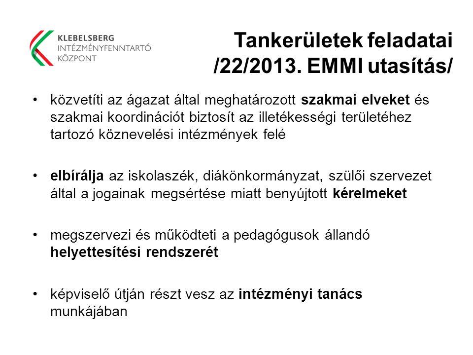 Tankerületek feladatai /22/2013. EMMI utasítás/