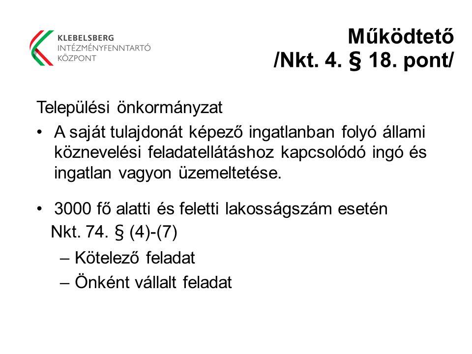 Működtető /Nkt. 4. § 18. pont/ Települési önkormányzat