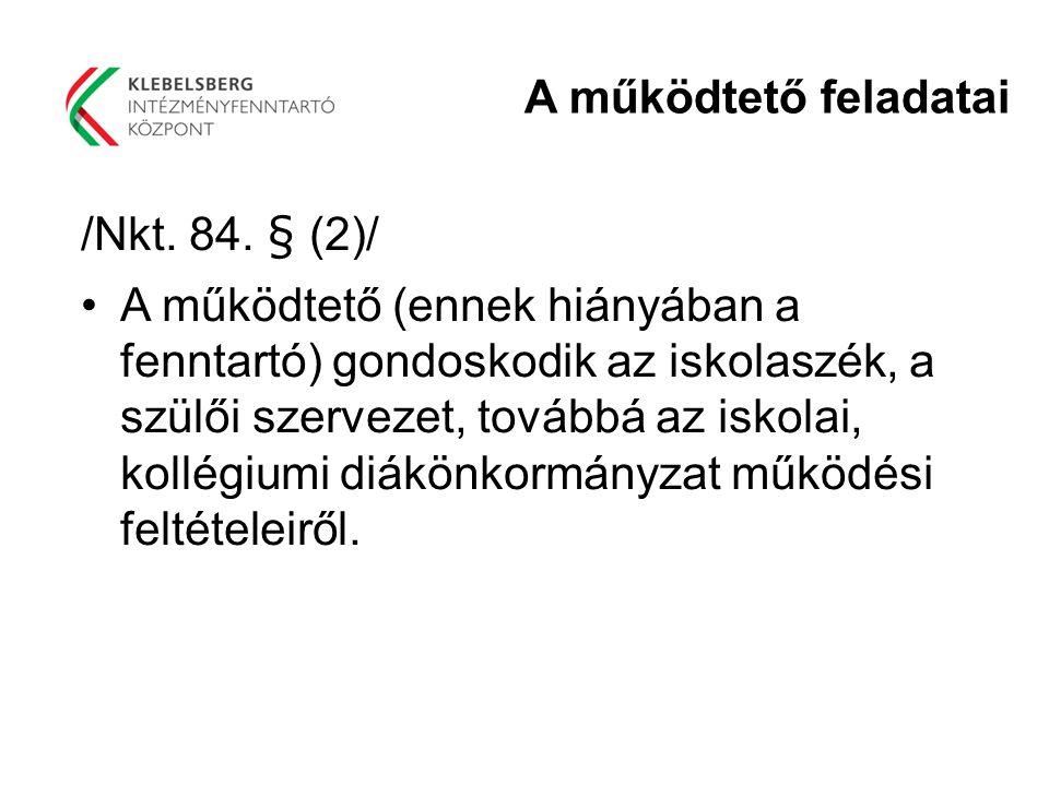A működtető feladatai /Nkt. 84. § (2)/