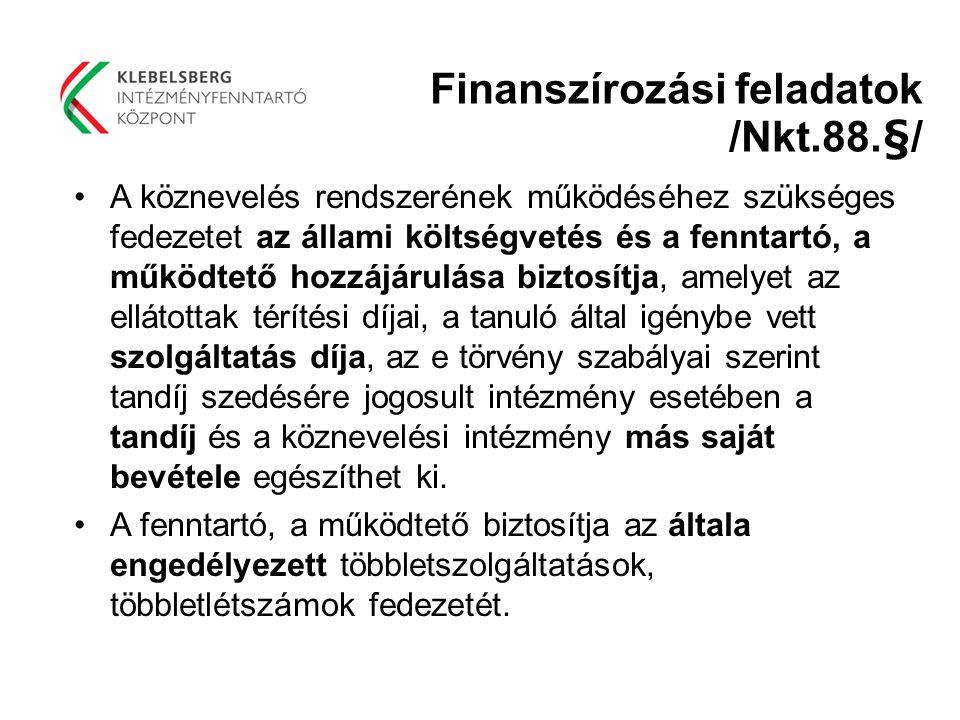 Finanszírozási feladatok /Nkt.88.§/
