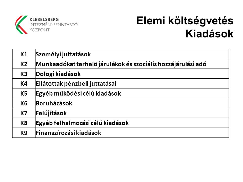 Elemi költségvetés Kiadások K1 Személyi juttatások K2