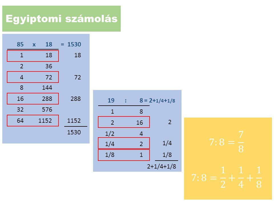 Egyiptomi számolás 18. 85. x. = 1530. 18. 1. 18. 36. 2. 72. 4. 72. 144. 8. 288. 16.