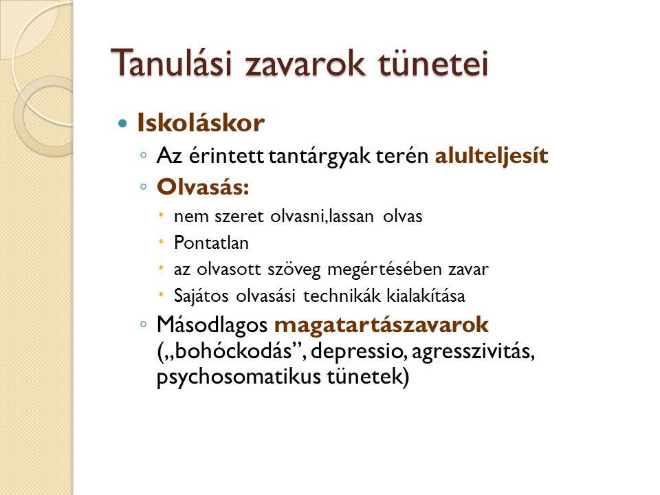 Tanulási zavarok tünetei