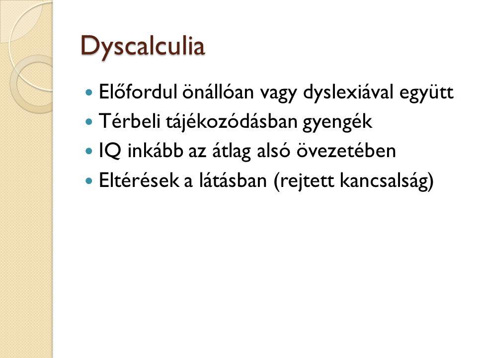 Dyscalculia Előfordul önállóan vagy dyslexiával együtt