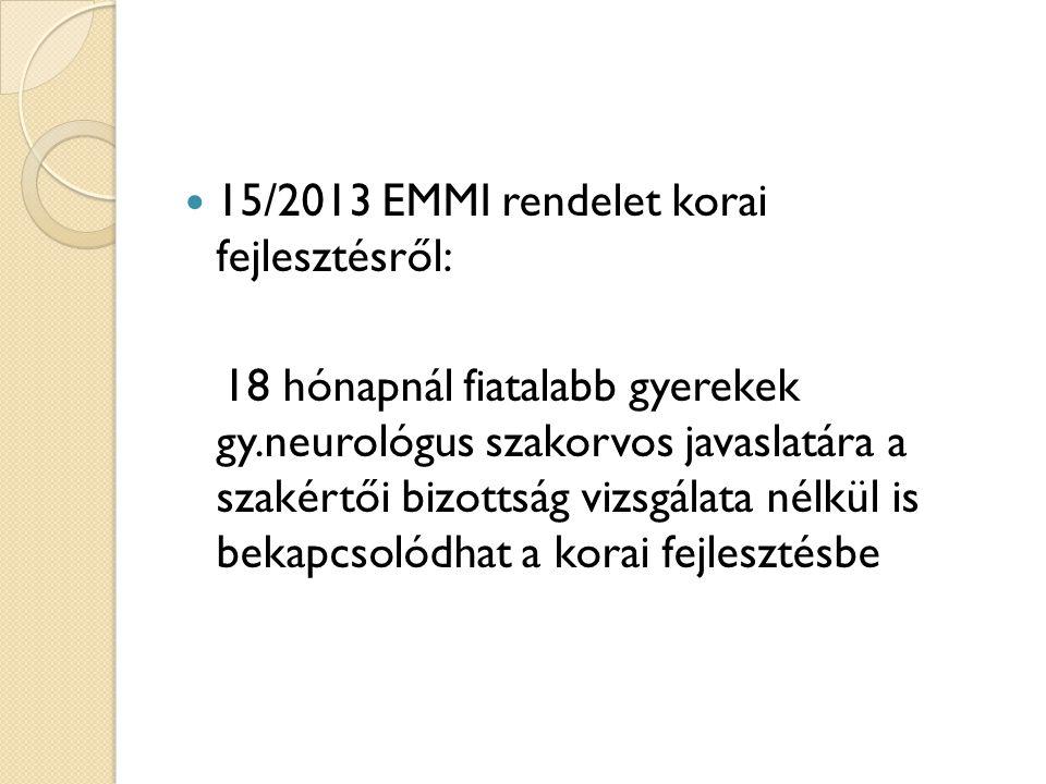 15/2013 EMMI rendelet korai fejlesztésről: