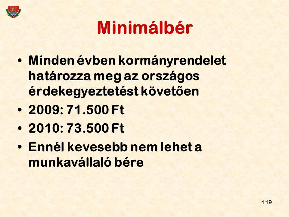 Minimálbér Minden évben kormányrendelet határozza meg az országos érdekegyeztetést követően. 2009: 71.500 Ft.
