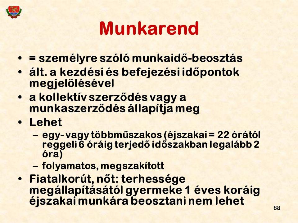 Munkarend = személyre szóló munkaidő-beosztás