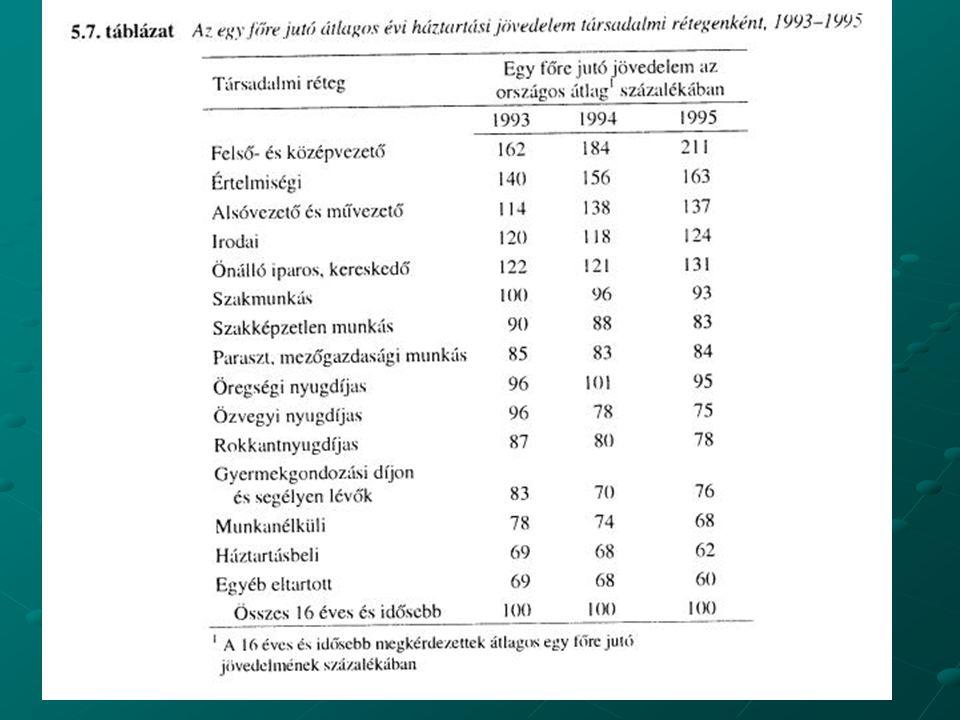 A rendszerváltás után A társadalomszerkezeten belüli rétegek közti jövedelem különbségek jelentősen nőttek,