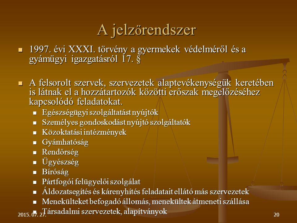 A jelzőrendszer 1997. évi XXXI. törvény a gyermekek védelméről és a gyámügyi igazgatásról 17. §